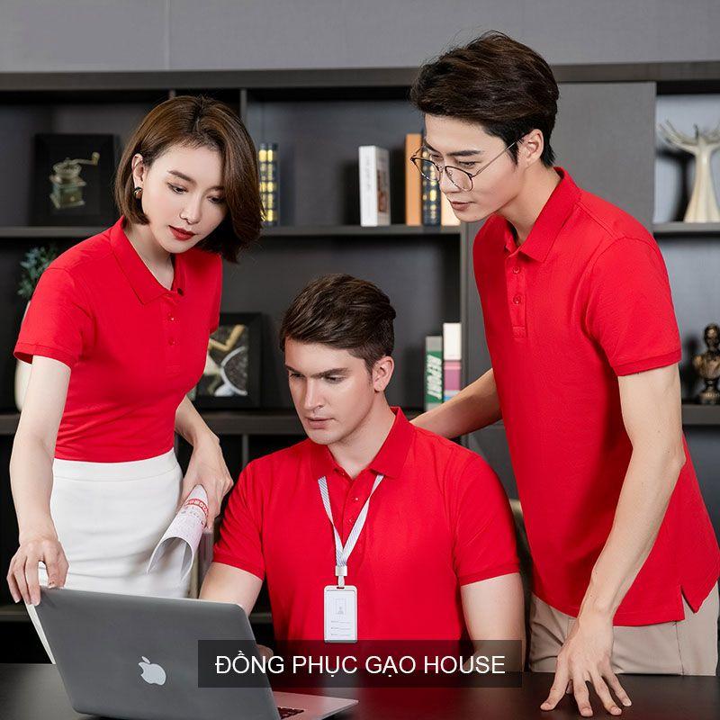 Áo đồng phục công ty màu đỏ XCT010 -  Gạo House